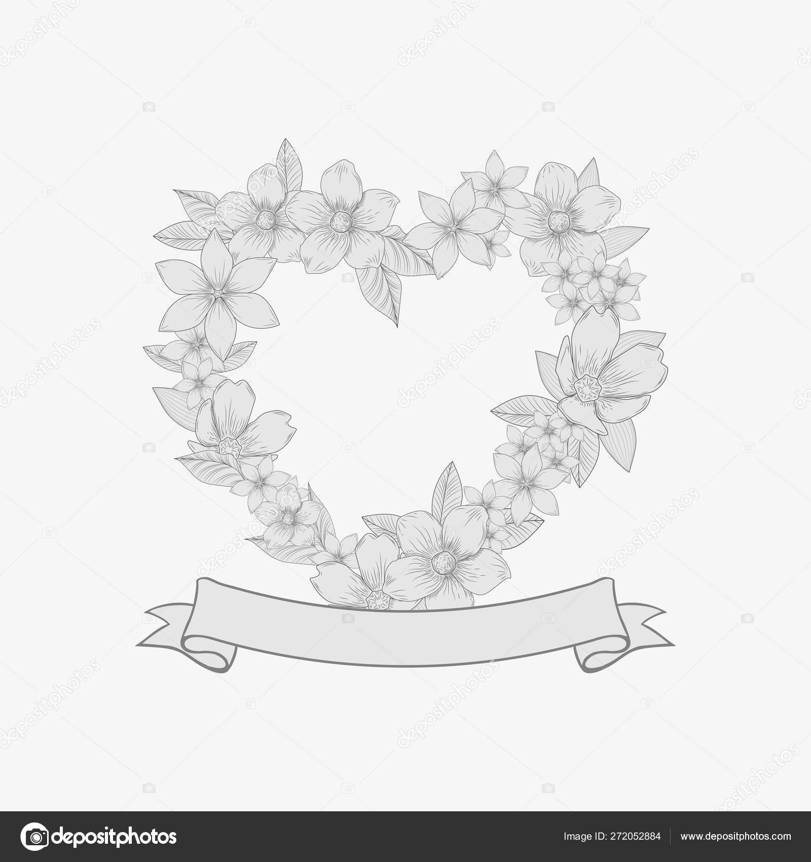 Corona Floral De Flores En Forma De Corazón Monogram A Mano