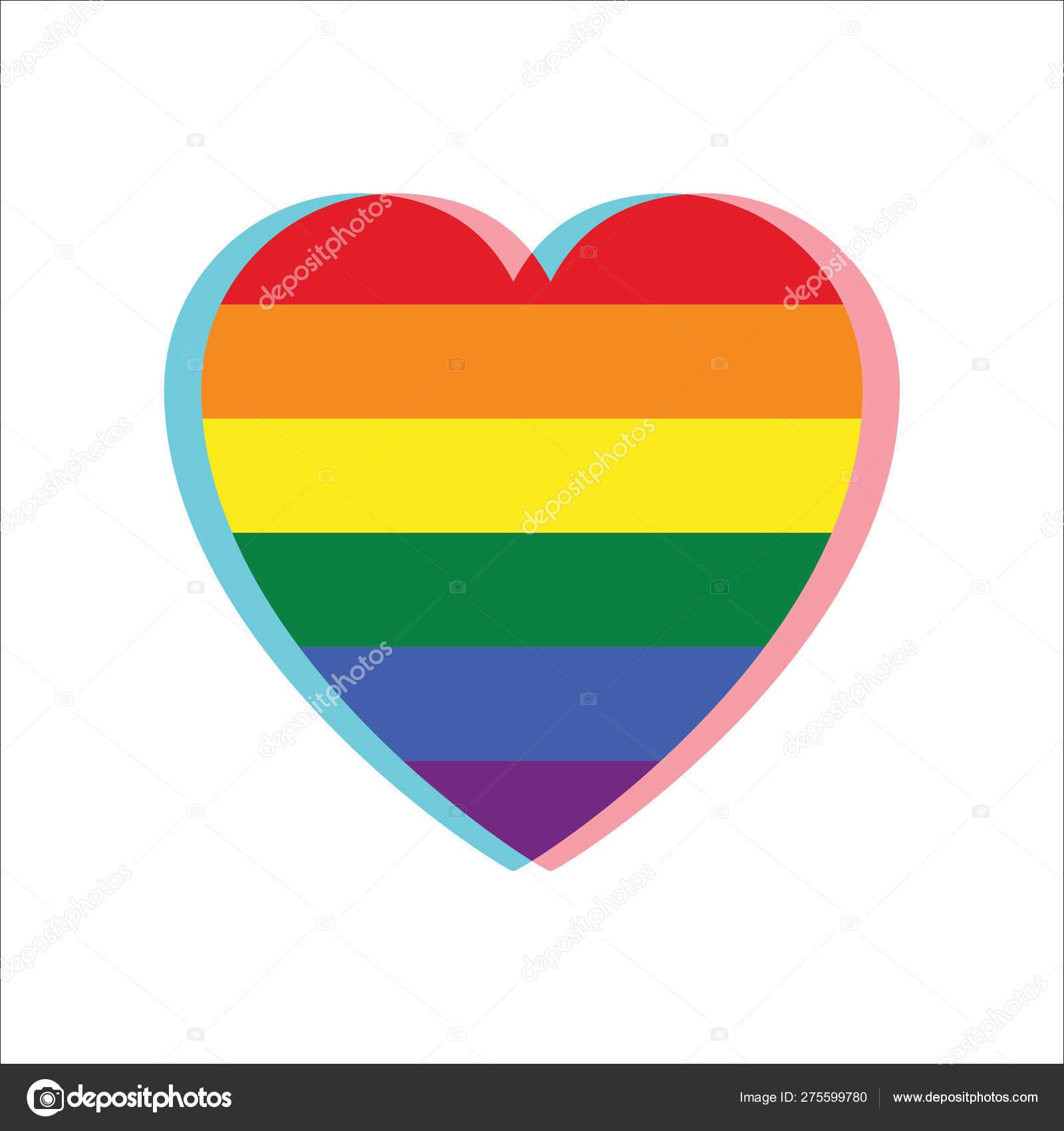 Heart LGBT with the rainbow flag inside  Rainbow heart