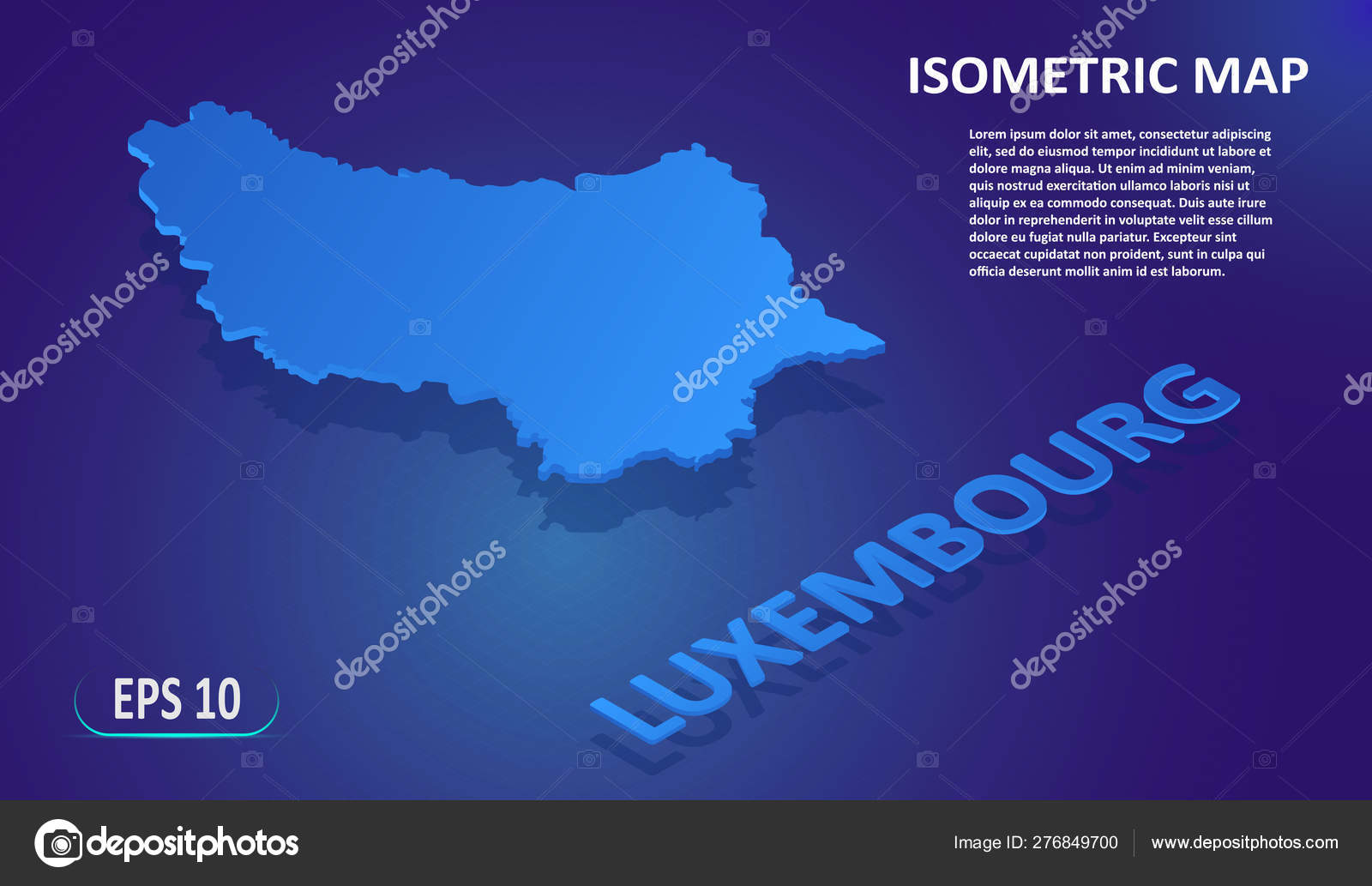Isometric map of the Luxembourg. Stylized flat map of the ...