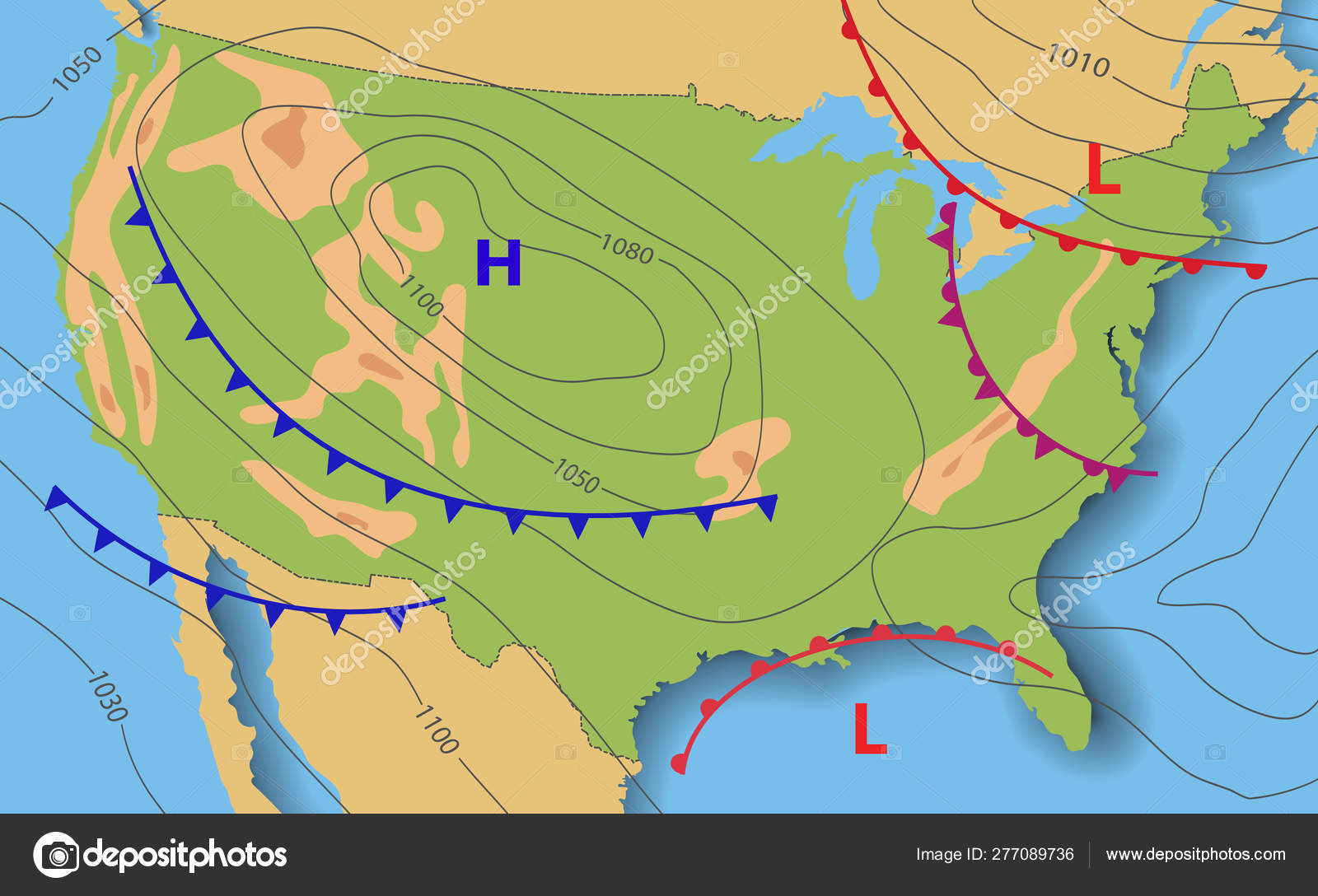 Weather forecast of USA. Meteorological weather map of the ...
