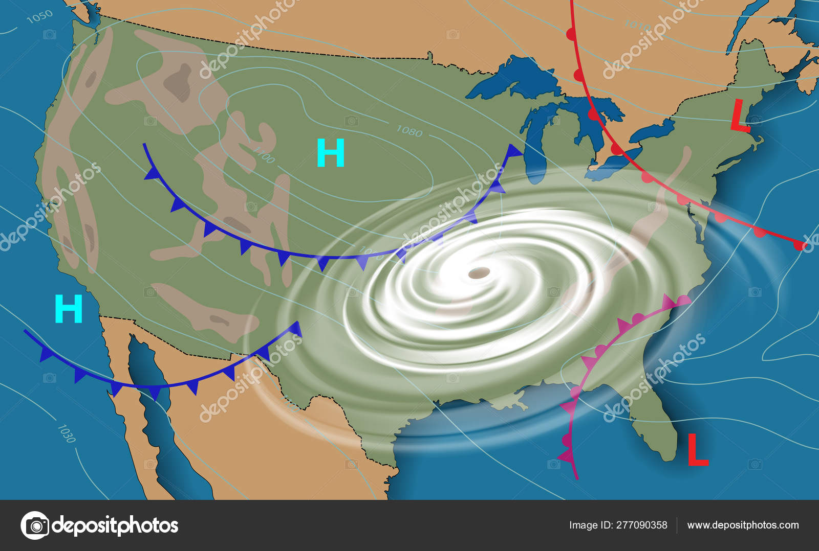 Weather map of the United States of America. Meteorological ...