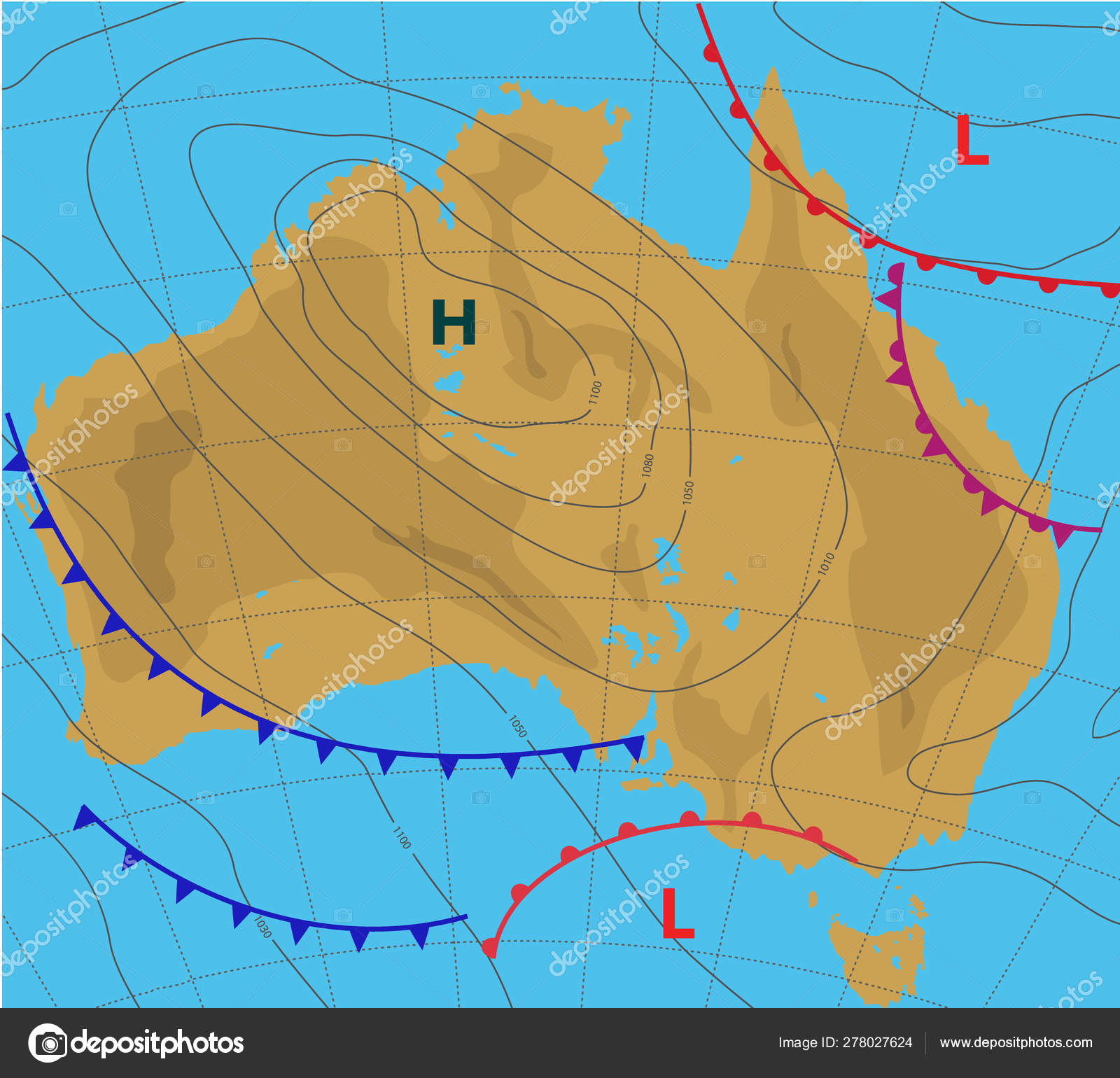 Australia Country Map.Weather Forecast Map Of Australia Meteorological Plan Of The