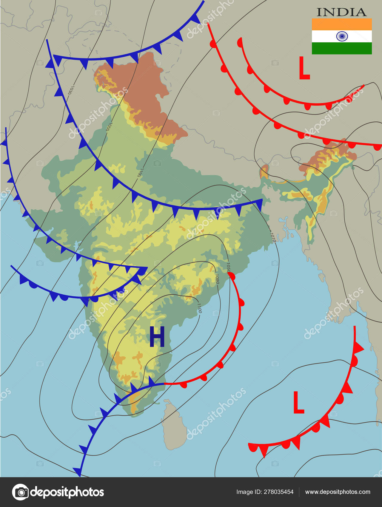 India Realistic Synoptic Map Of The India Showing Isobars And