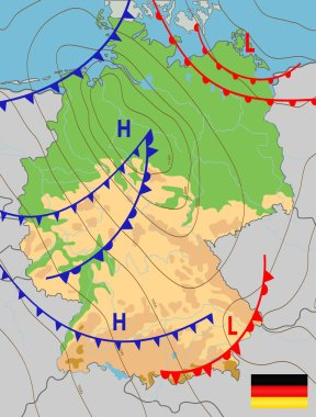 Germany. Weather map of the Germany. Meteorological forecast. Editable vector illustration of a generic weather map showing isobars and weather fronts. EPS 10