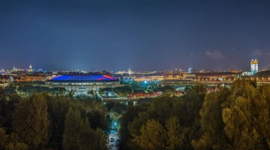 Panoramic view of Moscow from Sparrow Hills in evening, Russia