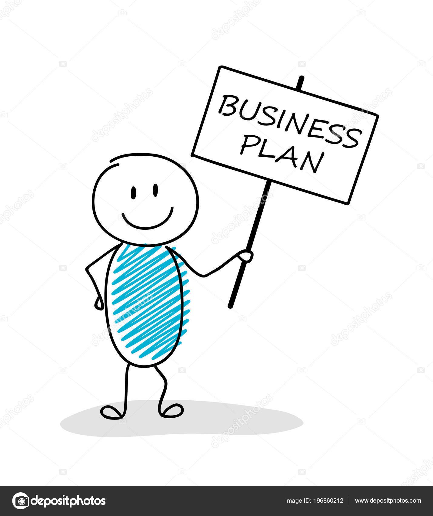 Funny Business Illustration Cartoon Stickman Holding Banner Slogan Business Plan