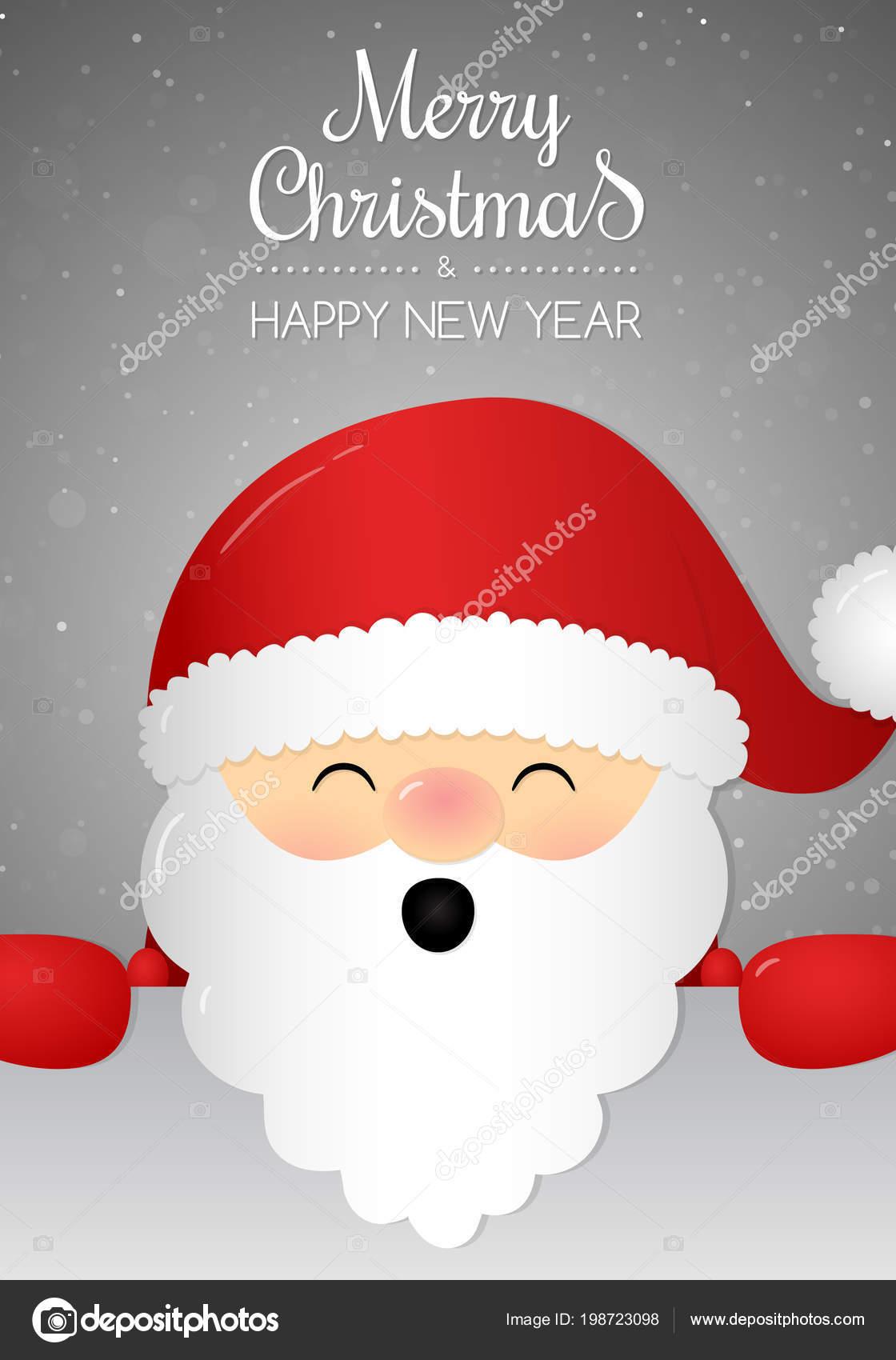 Christmas Card Wishes Happy Santa Claus Vector Stock Vector