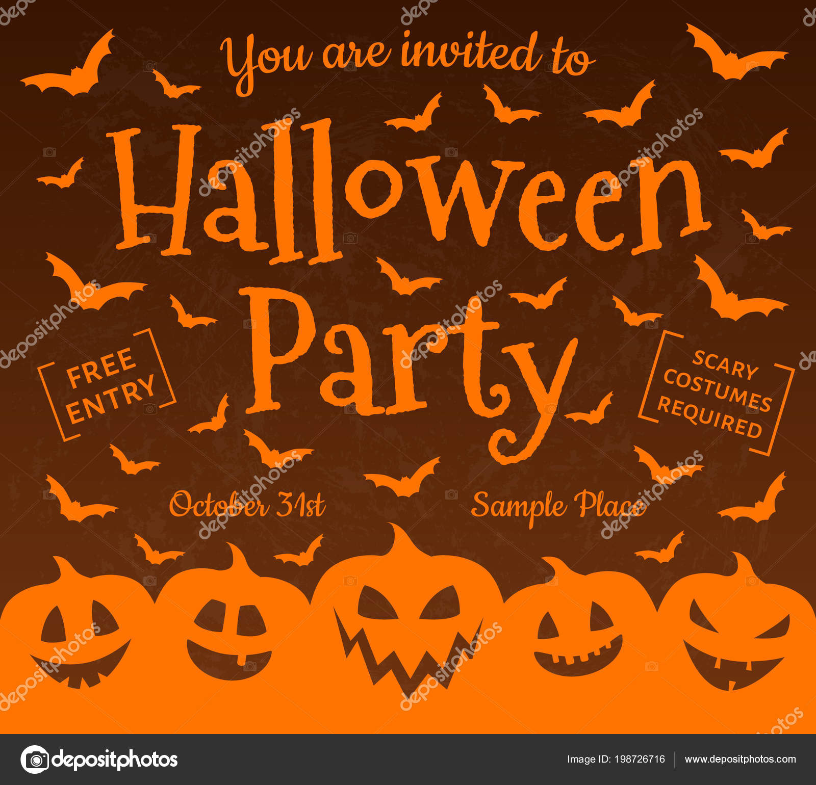 Invitation Halloween Party Scary Poster Vector — Stock Vector ...