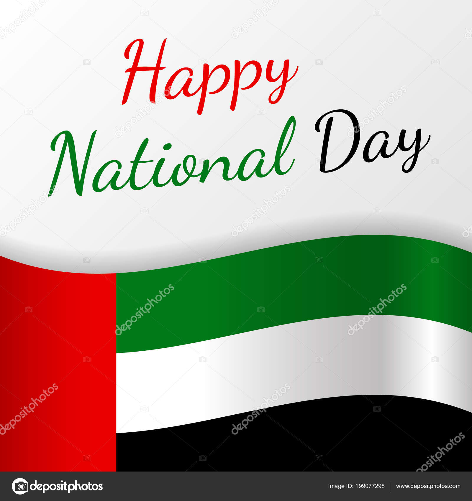 Happy National Day United Arab Emirates Card Greeting Vector Stock