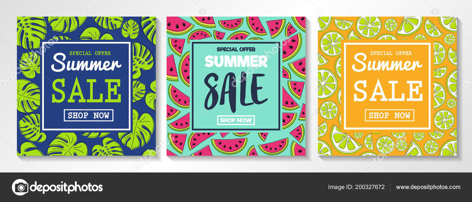 collection flyers summer sales concept watermelons citrus fruits