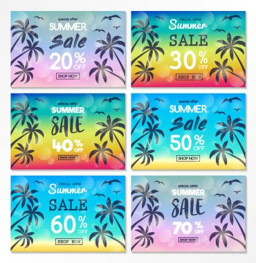 Summer Sale - collection of colourful banners with tropical palms. Vector.