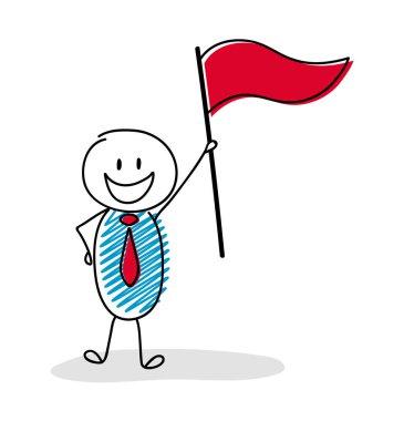Team leader holding flag. Vector.