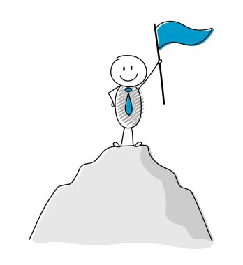 Team leader concept with hand drawn stickman holding flag and climbing on the top of a mountain. Vector.