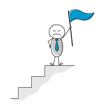 Business concept of leadership with angry cartoon person holding flag. Vector.
