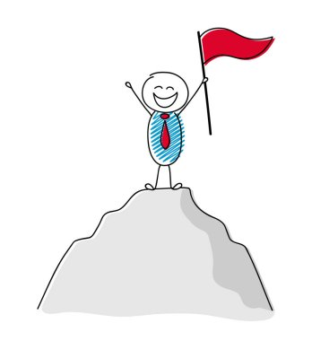 Cartoon character holding flag standing on the top of a mountain - concept of leader. Vector.