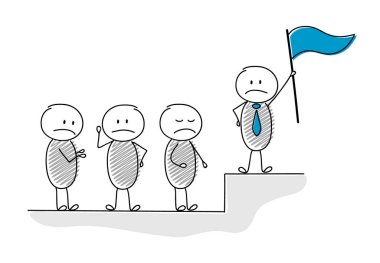 Cartoon stickman with flag and his team - leadership concept. Vector.