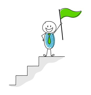 Concept of leader wit hand drawn stickman holding flag. Vector.