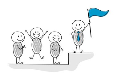 Funny cartoon stickmen with leader with flag standing on the top. Vector.