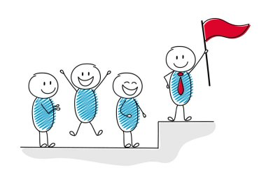 Business concept with group following the leader standing on the top. Vector.