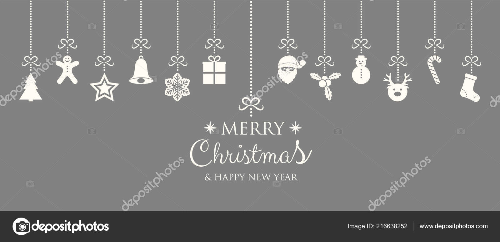 christmas and new year banner with hanging decorations vector vector by karolinamadej