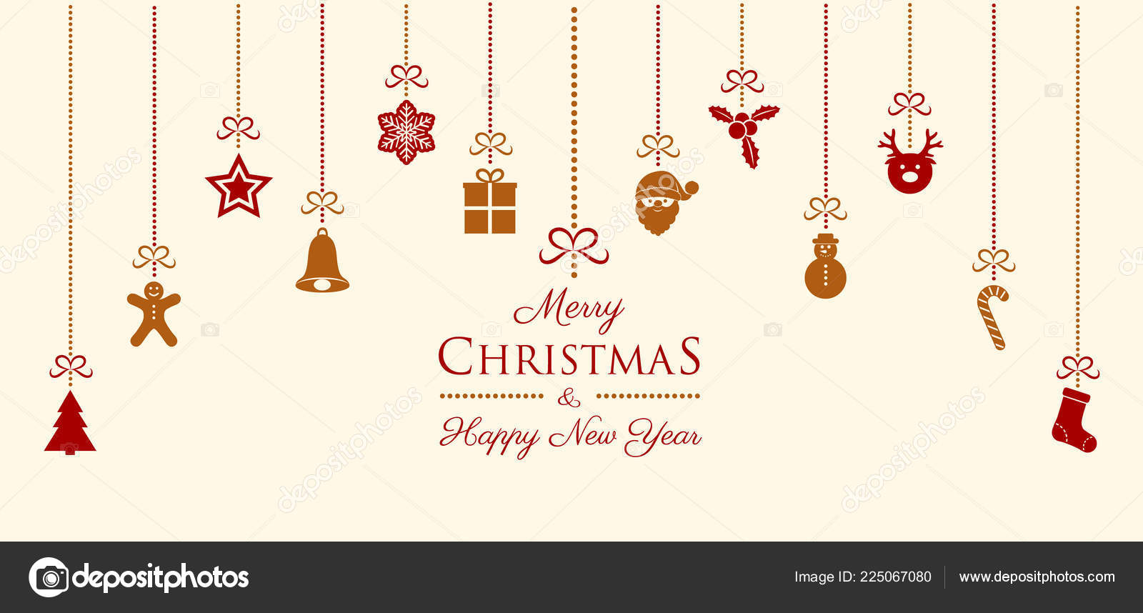 merry christmas happy new year card decorations wishes vector stock vector