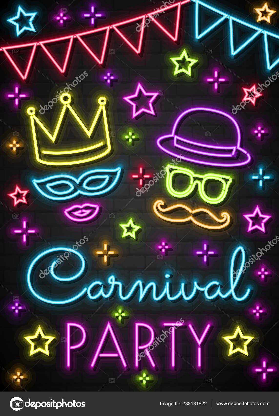 Fiesta Carnaval Tarjeta Invitación Colores Neón Vector