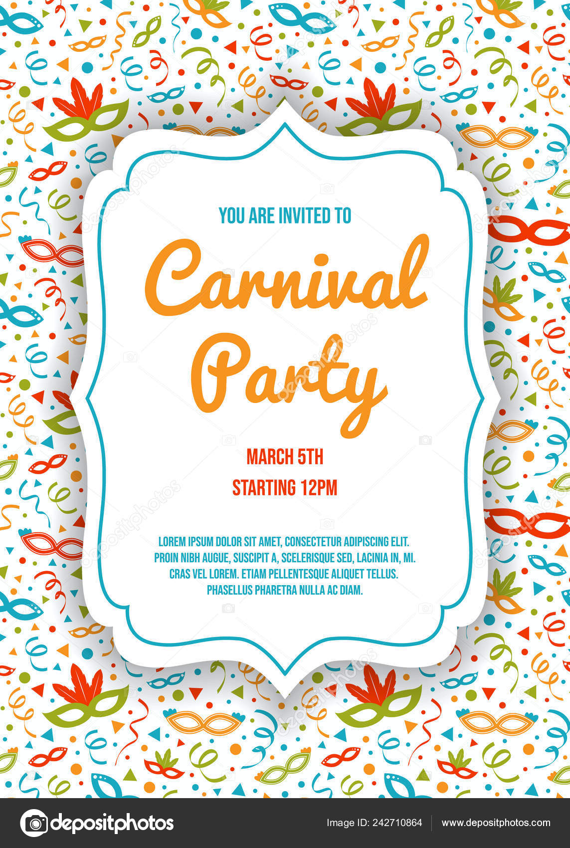 Concept Carnival Party Invitation Card Colorful Background