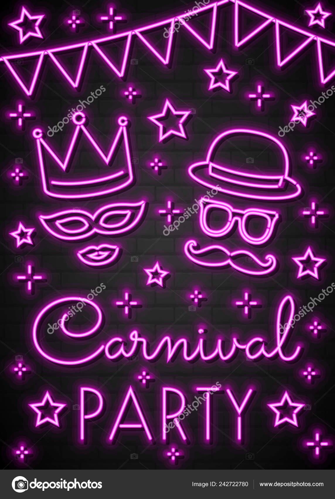 Fiesta Carnaval Concepto Una Tarjeta Invitación Neón Vector