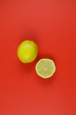 citrus on a red background upside