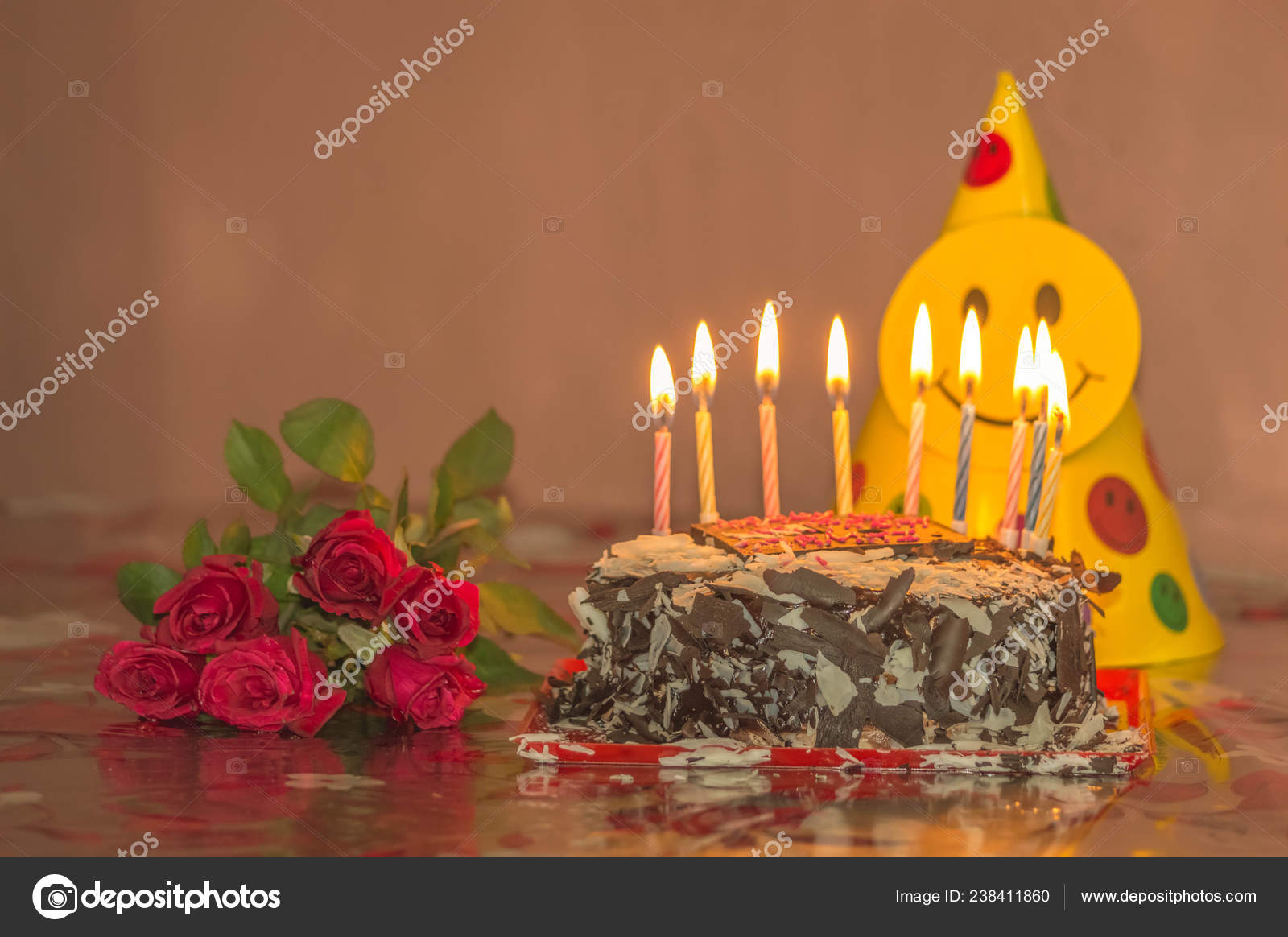 Chocolate Cake Candles Red Rose Valentines Day Mothers Birthday Stock Photo