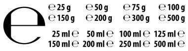 Estimated e sign (e-mark) with correct dimensions as per EU Directive 71/316. Versions with commonly used weights and volumes for food and cosmetics label. icon