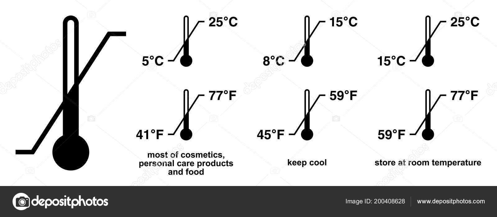 Storage Temperature Range Symbol Black Thermometer Icon Diagonal