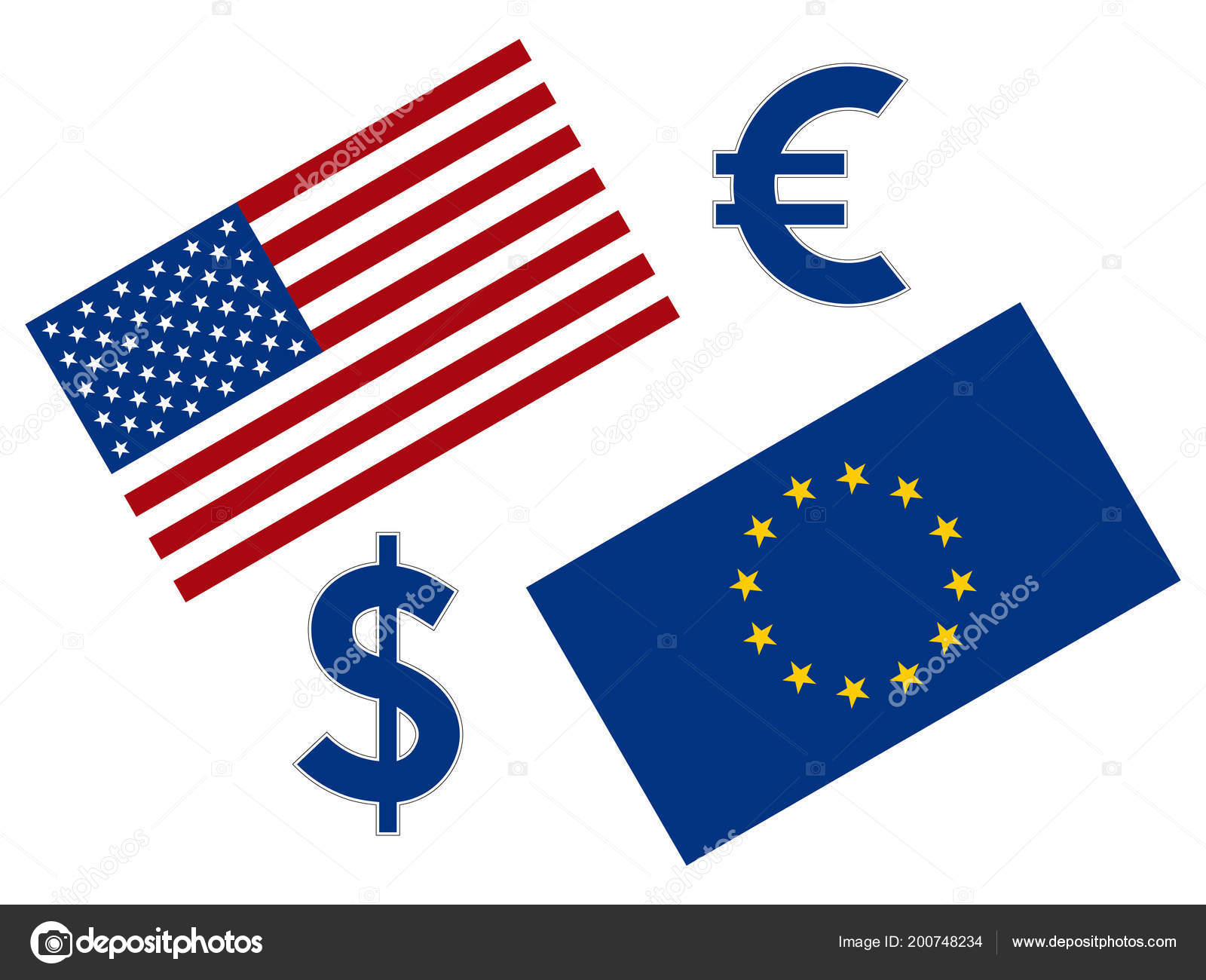 Eurusd Forex Currency Pair Illustration American Flag Euro Dollar