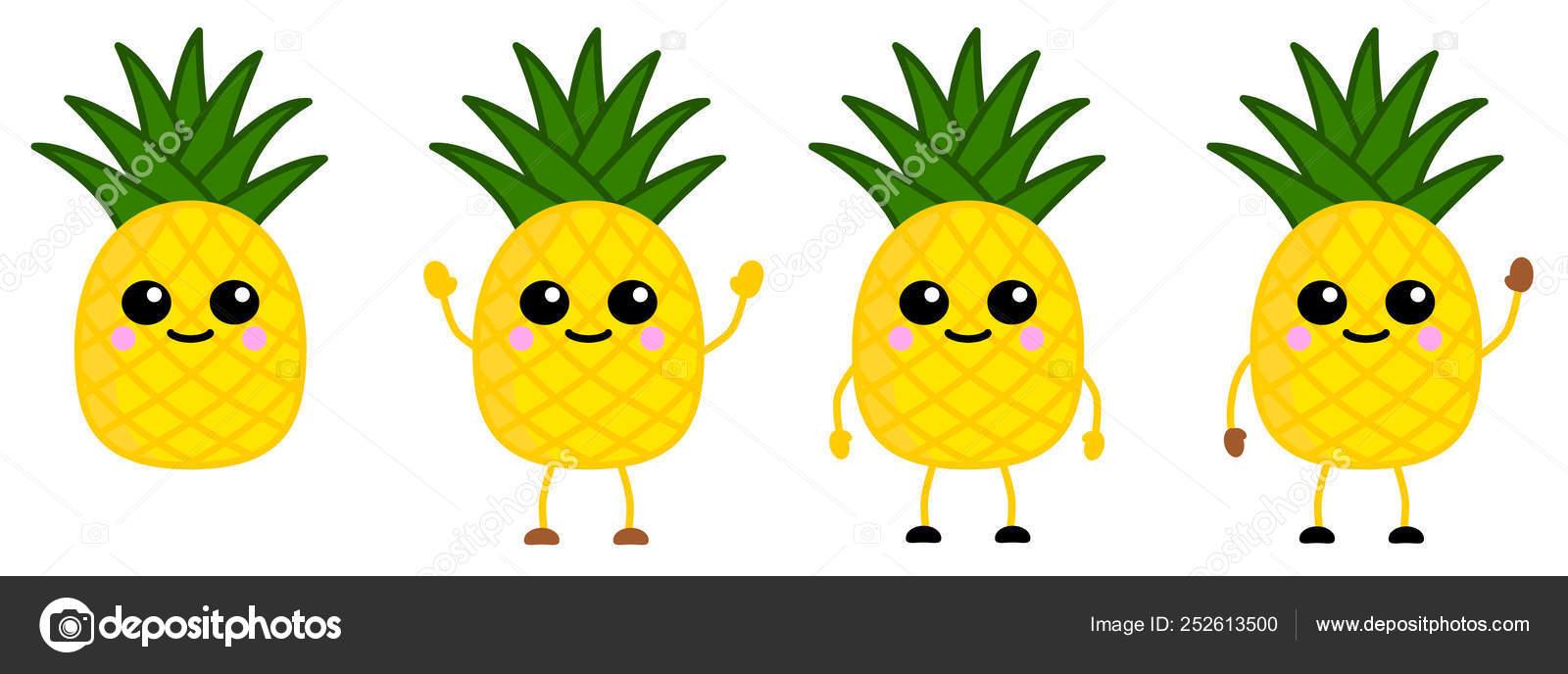 Cute Kawaii Style Pineapple Fruit Icon Large Eyes Smiling