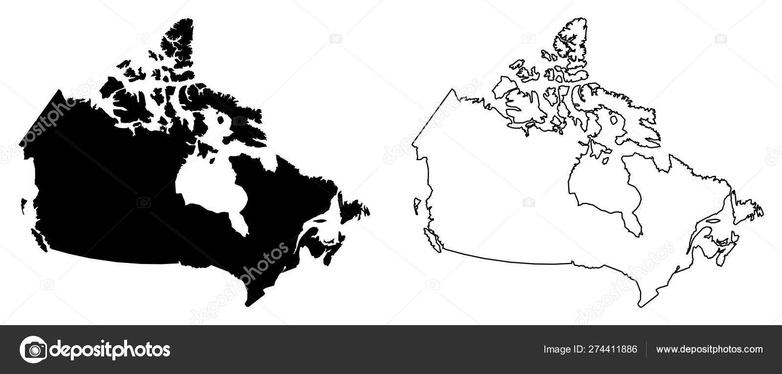 Map Of Canada Simple.Simple Only Sharp Corners Map Of Canada Vector Drawing Mercat