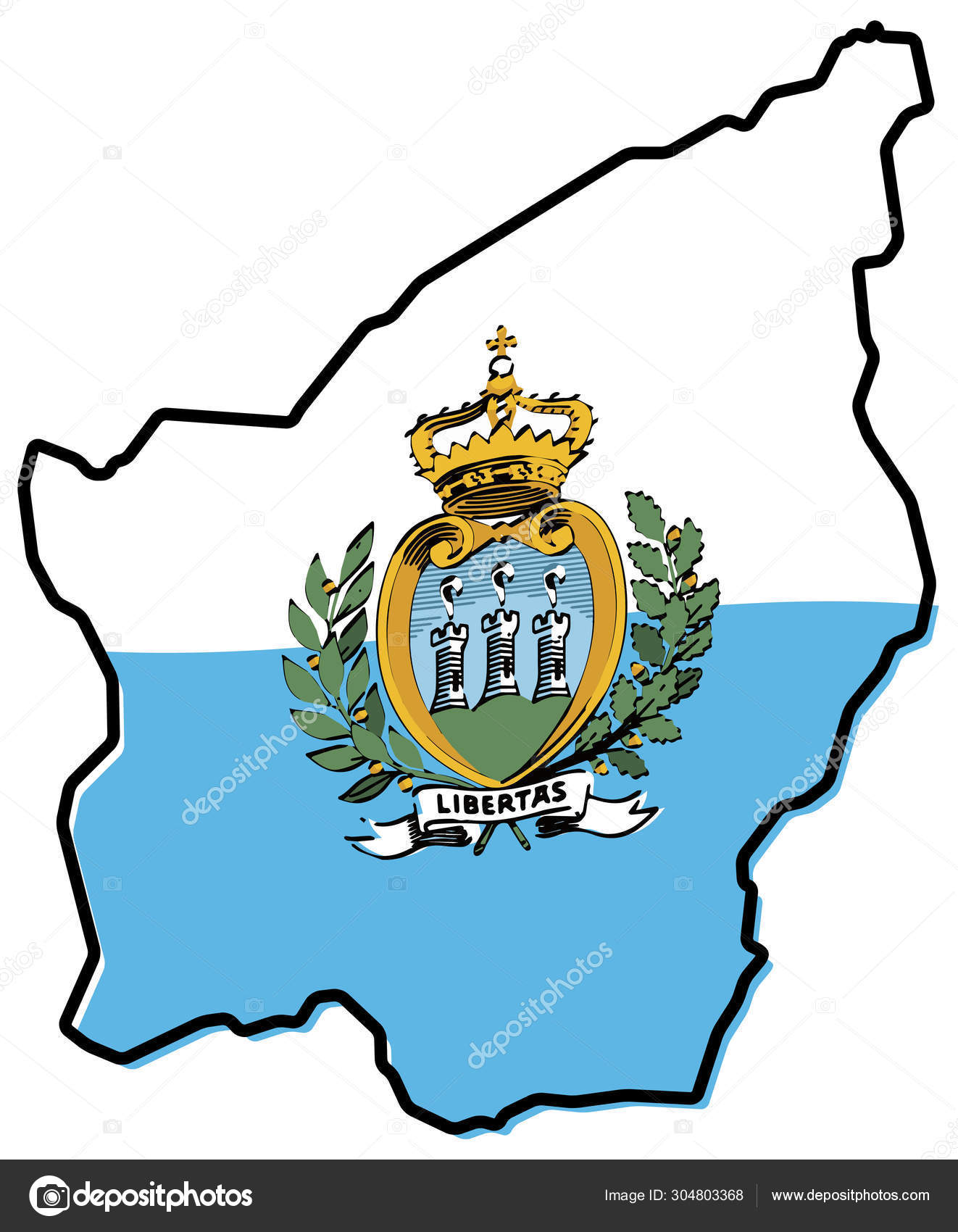 Simplified map of San Marino outline, with slightly bent