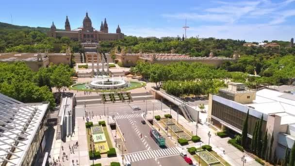 Kouzelná fontána Montjuic castle, denní doby, Barcelona, Španělsko