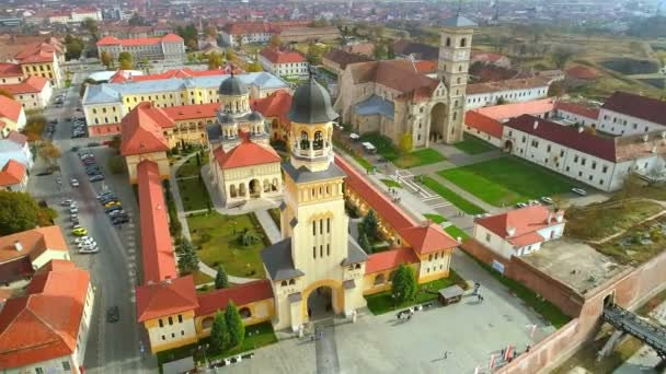 Aerial view of fortified churches inside Alba Carolina Fortress, Coronation Orthodox Cathedral and St Michaels Roman Catholic cathedral in Alba Iulia city, Transylvania Romania