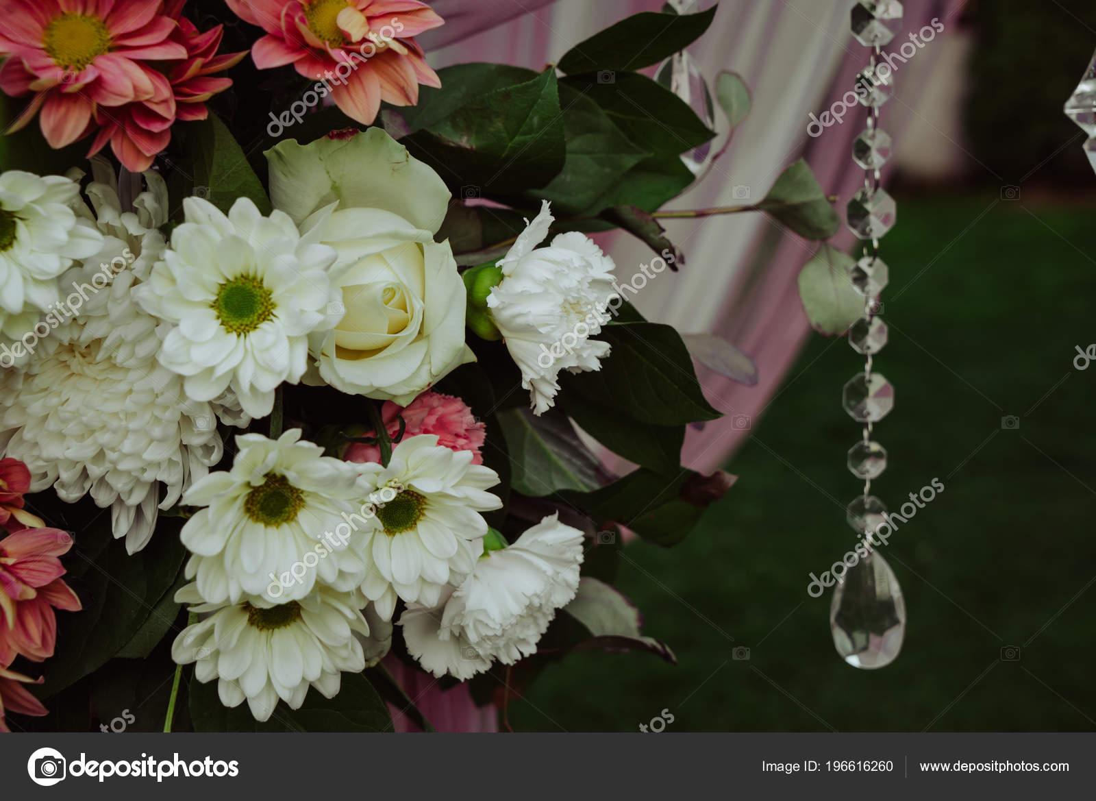 White Red Flowers Green Leaves Adorn Pink Wedding Arch Stock Photo