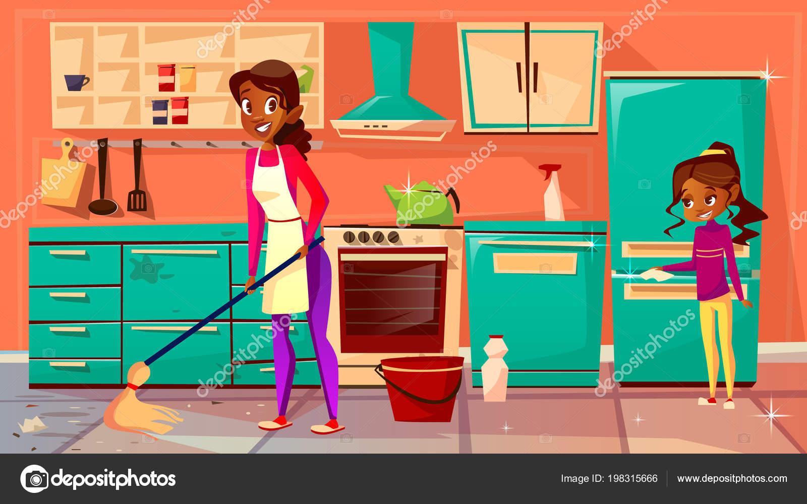 Dibujos personas limpiando la cocina ama de casa negra - Imagenes de limpieza de casas ...