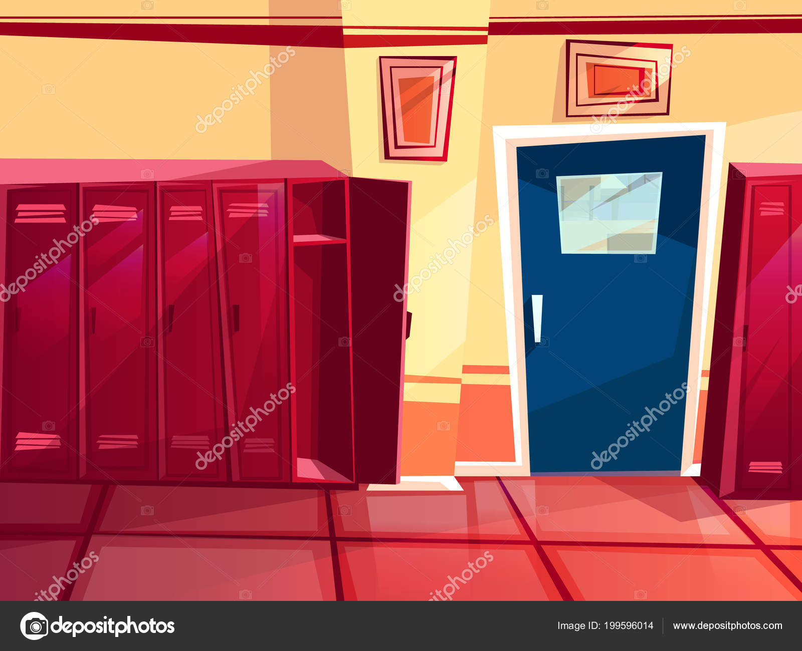 Locker room gym vector cartoon illustration — stock