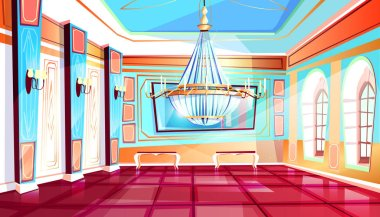 Ballroom with chandelier vector illustration