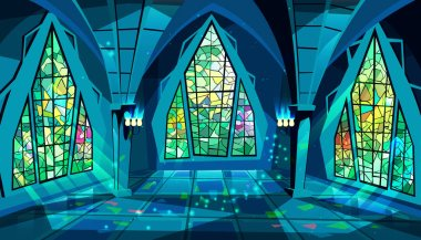 Ballroom or gothic palace night vector illustration