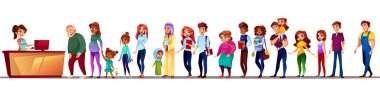People in supermarket queue vector illustration