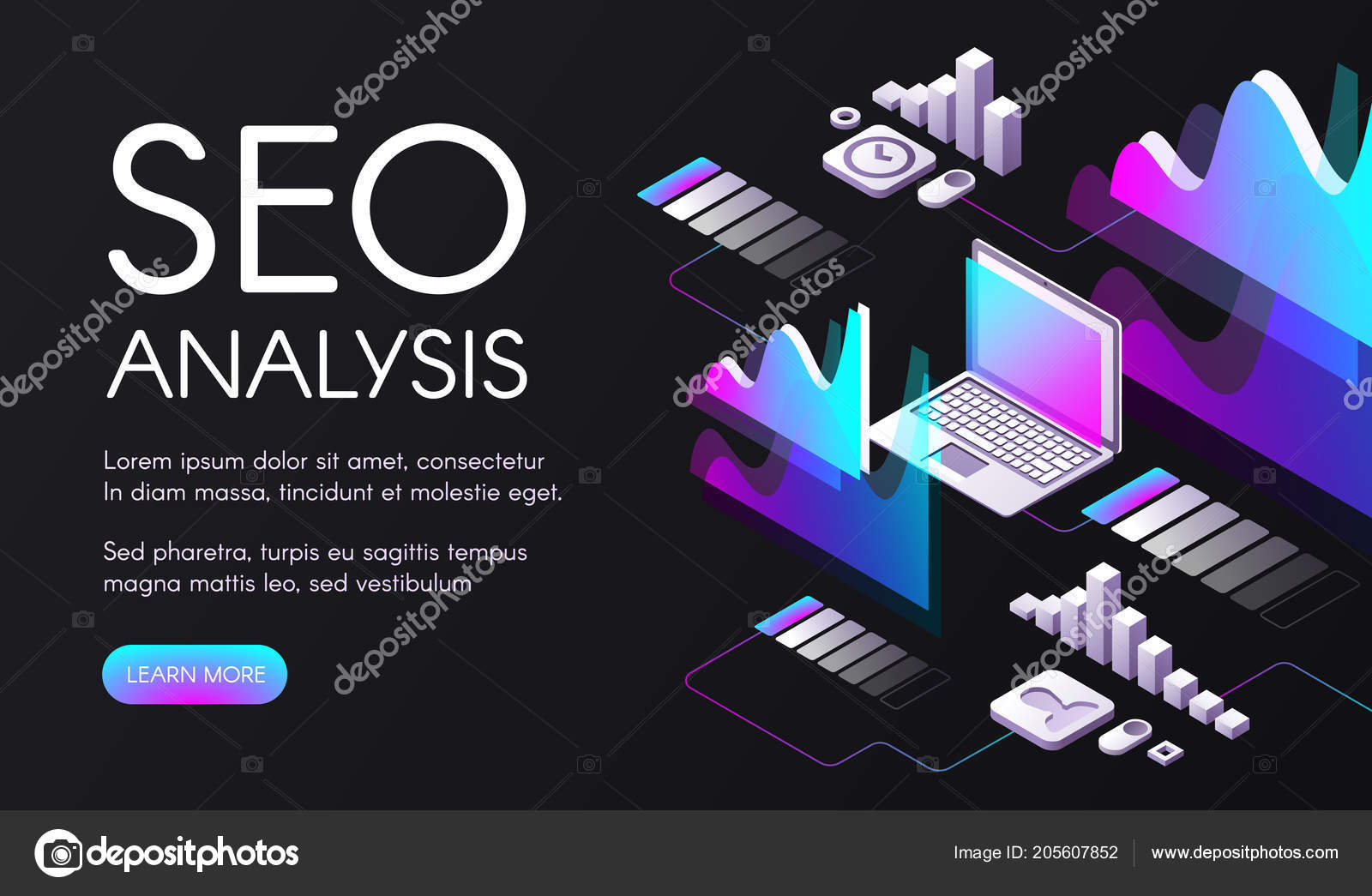 Seo Search Engine Optimization Vector Illustration Stock Diagram Analysis Of In Digital Marketing Ultraviolet Purple Diagrams And Flowcharts For User Requests