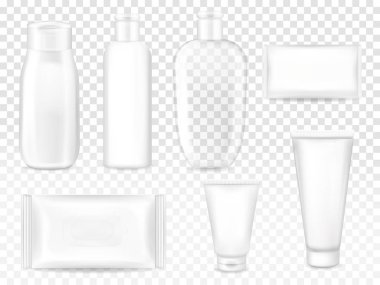 Cosmetic packages 3D vector illustration