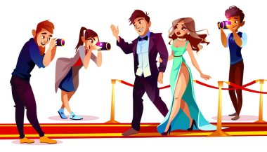 Vector celebrities with paparazzi on red carpet