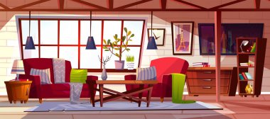 Loft lounge room interior vector illustration