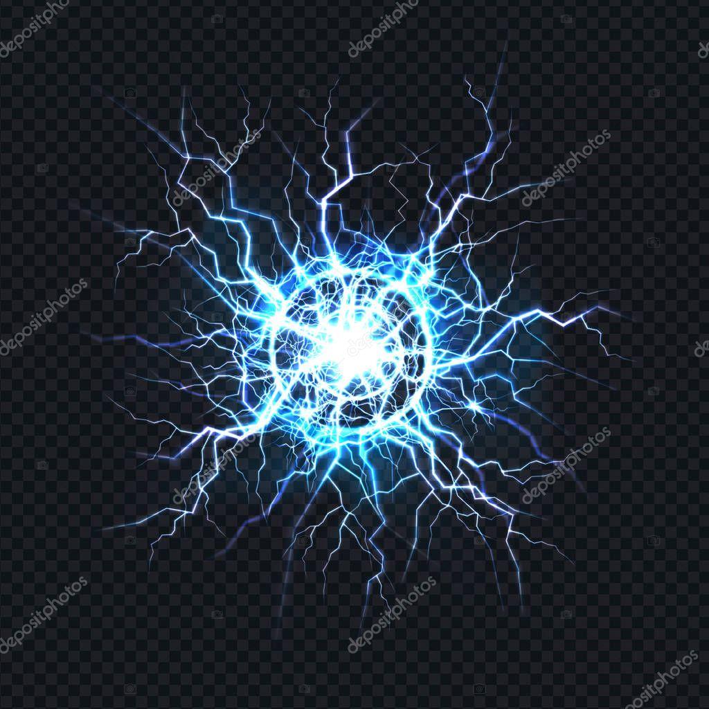 Electrical burst, ball lightning realistic vector