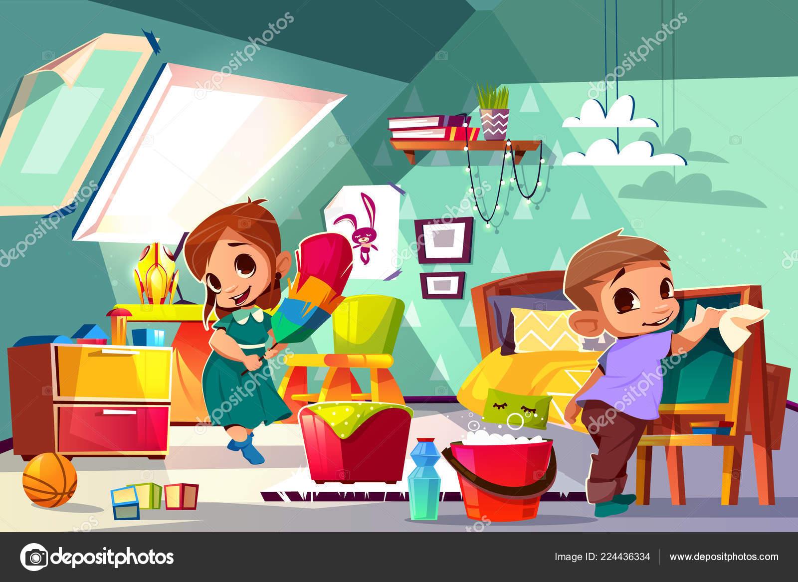 Limpieza en su vector de dibujos animados de cuarto de niños ...